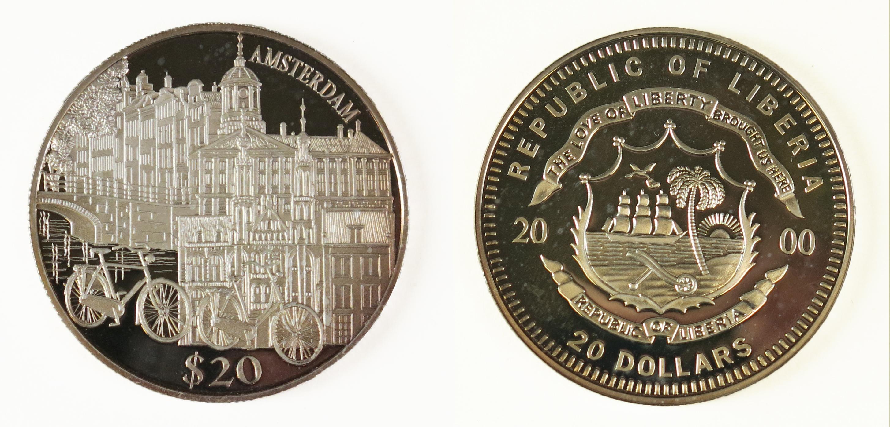 Twintig-dollarmunt uit Liberia, met Amsterdams stadsgezicht