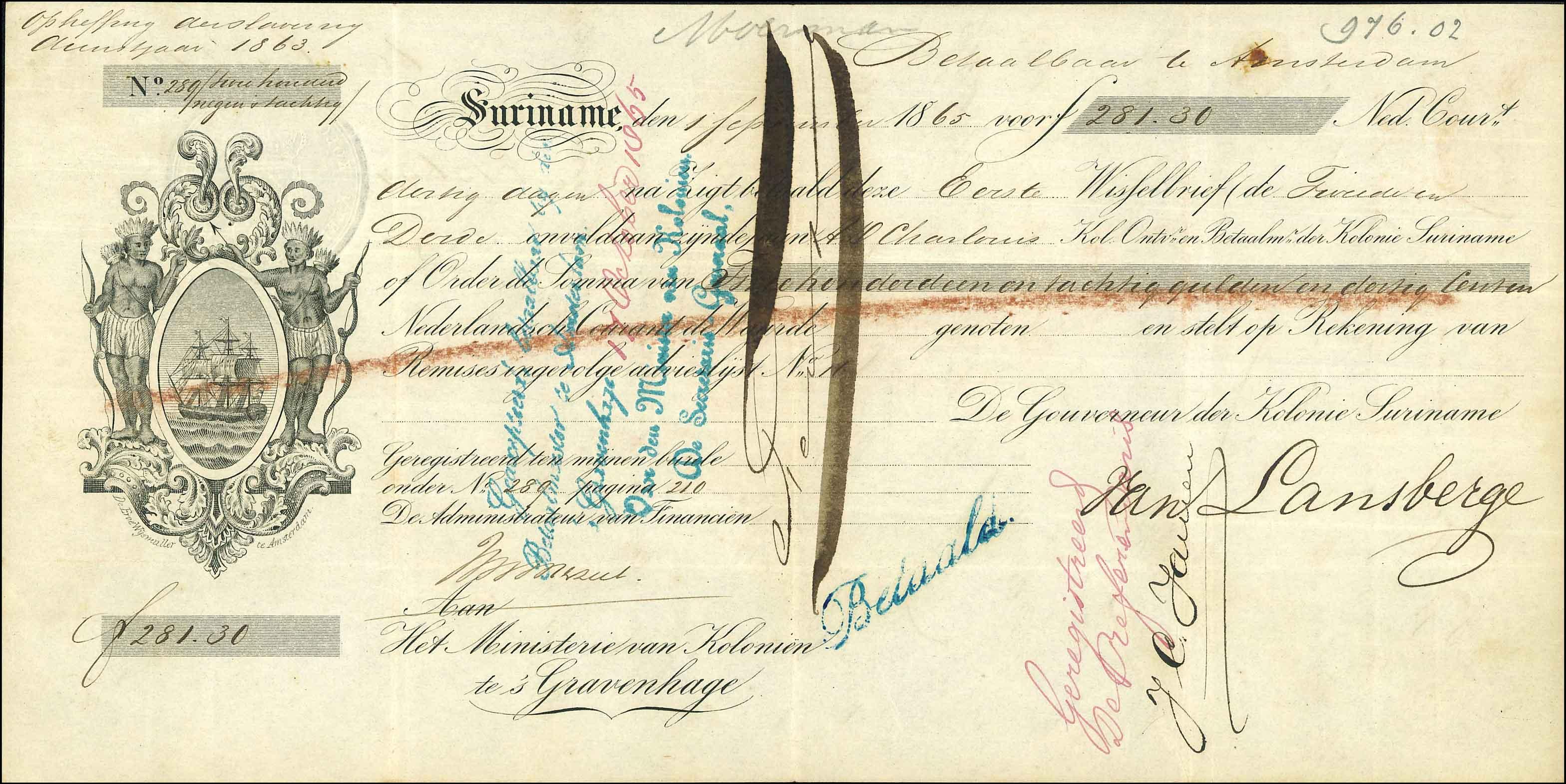 Wisselbrief afschaffing slavernij Suriname, No. 289