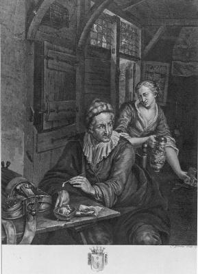 Een lierdraaier in een herberg (franse titel: Un joueur de vielle dans une taverne)