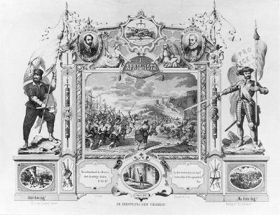 De inname van den Briel op 1 april 1572 (gedenkprent) (De prent werd gemaakt i.v.m. de 300-jarige herdenking van de inname van den Briel)