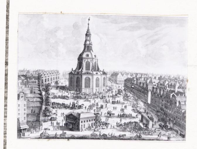 De Botermarkt te Amsterdam, in het midden een op de markt geprojecteerde koepelkerk (Het Ontwerp van een koepelkerk op de Botermarkt door Nicolaas Listingh is nooit uitgevoerd)
