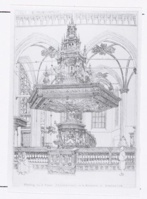 Afbeelding van de Fraaye Predikstoel in de Nieuwekerk tot Amsterdam (naar Jan van der Heyden)