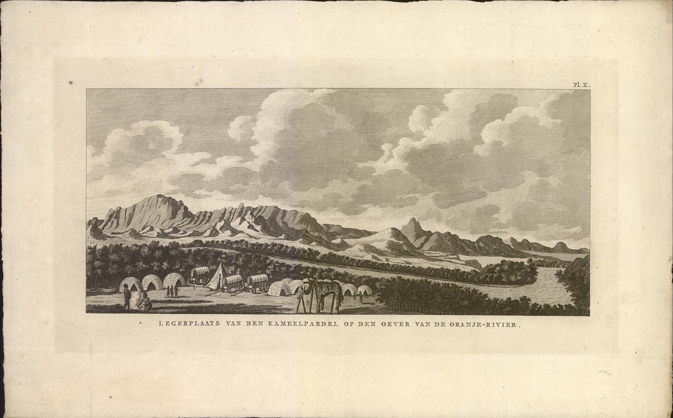 Legerplaats van den Kameelpardel op den oever van de Oranje-Rivier