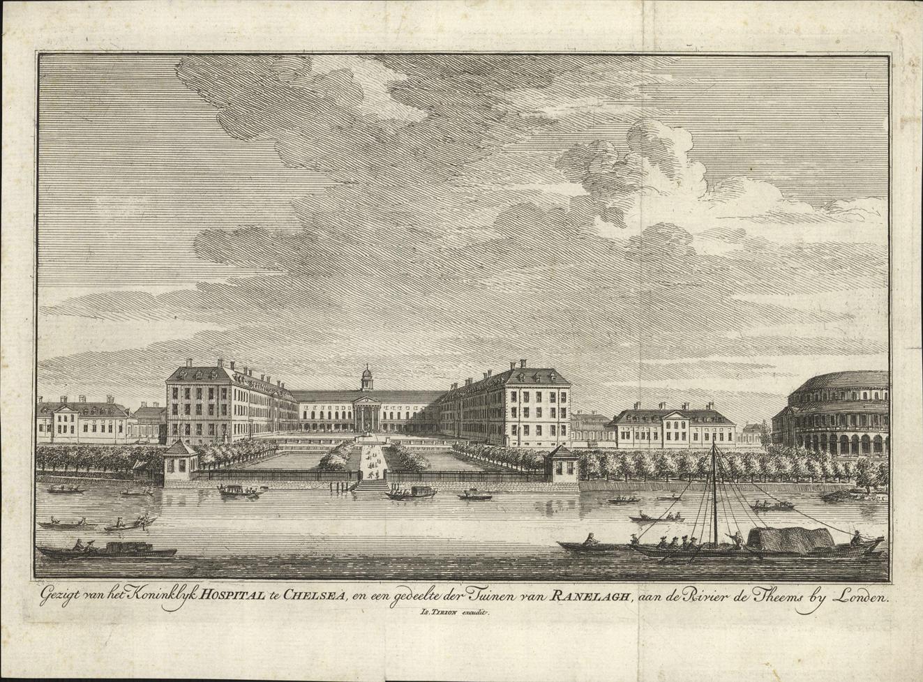 Gezicht van het Koninklijk Hospitaal te Chelsea