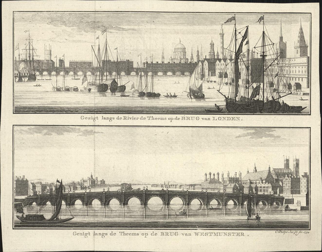 Gezigt langs de Rivier de Theems op de brug van Londen