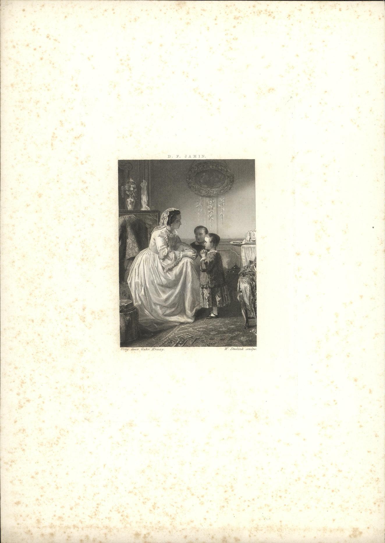 Twee biddende kinderen en hun moeder in een huiskamer.
