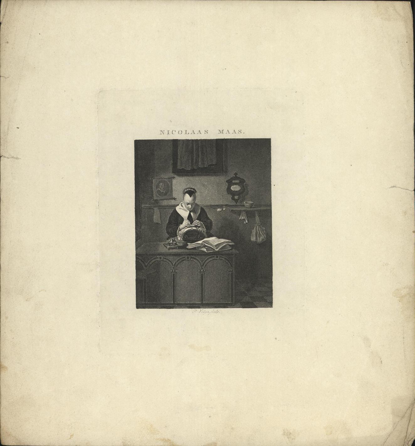 Kantklossende vrouw in een interieur.
