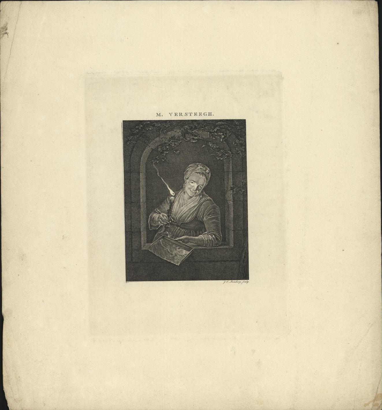 Vrouw met stofblik in een nis bij kaarslicht.