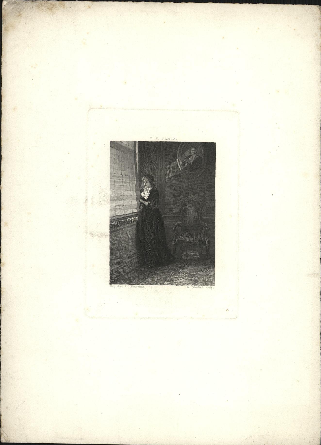 Huilende vrouw kijkt door een kier van het gordijn