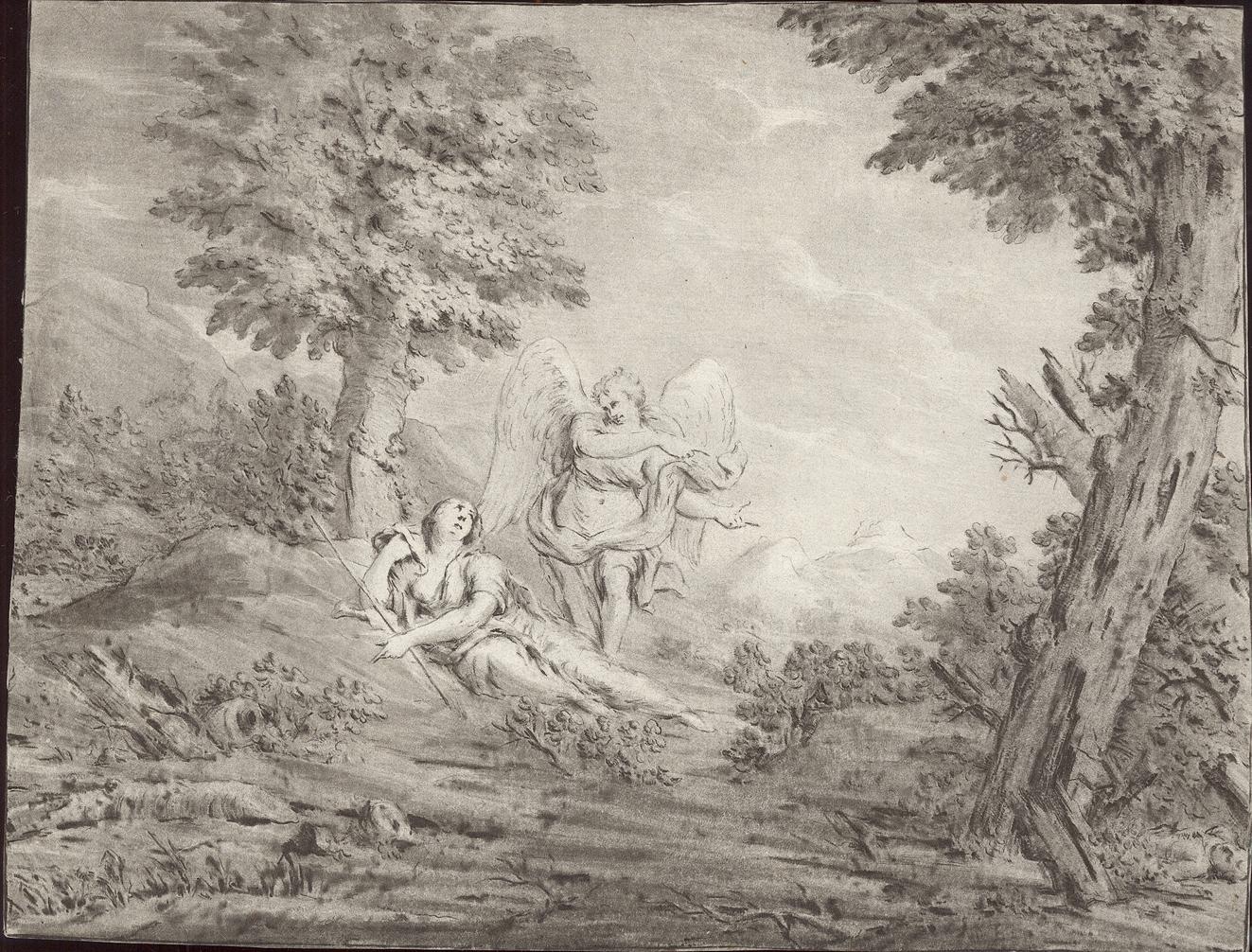 De engel wijst Hagar de bron in de wildernis