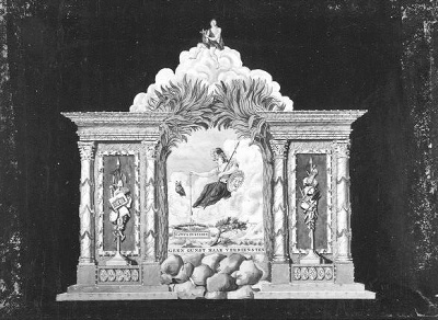 Afbeelding van de illuminatie op de Noordermarkt: Kunsten en Wetenschappen, 1795