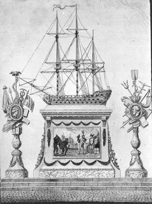 Afbeelding van de illuminatie op de Nieuwmarkt: Koophandel en Zeevaart