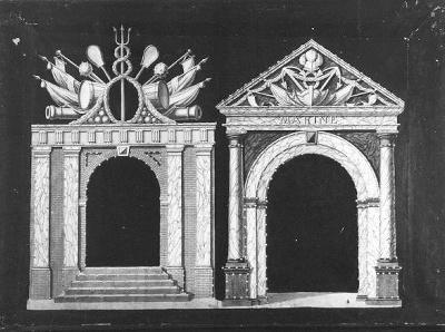 Afbeeldingen van de poorten van het Zeemagazijn en van het Zeecomptoir
