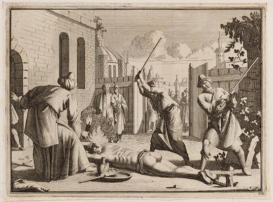 Straf van een slaaf, die had gepoogd te vluchten (1670)