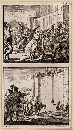 Onias door het volk te Jeruzalem gestenigd, De in de tempel opgesloten Joodse priesters trachten zich voor het paasfeest van offerdieren te voorzien
