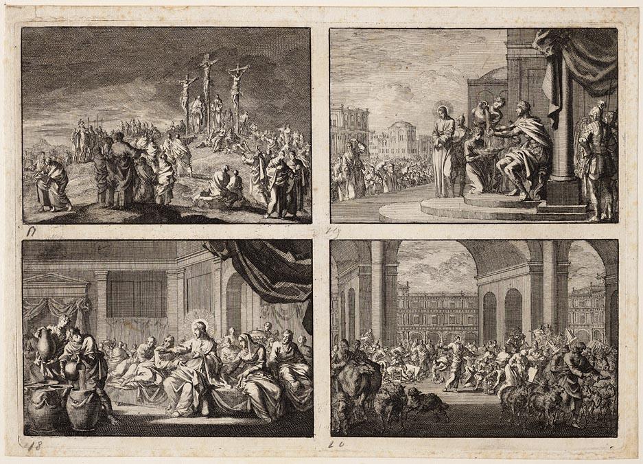 Kruisiging, Pilatus wast zijn handen, Jezus op de bruiloft te Kana beveelt de dienaren de watervaten te vullen, Jezus verjaagt de handelaren uit de tempel