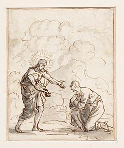 Jezus toont de tekenen zijner kruisiging aan een vóór hem knielende man (recto) : Moses en een aantal personen (verso)