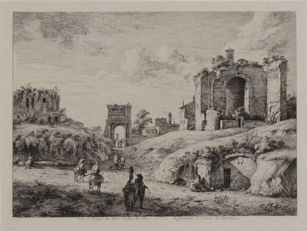 Gezicht op de tempel en ruïnes (no.27)