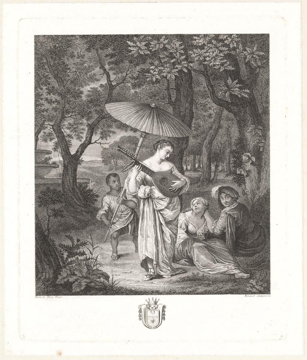Luitspelende vrouw in park (franse titel: promenade dans un parc: une femme jouant du cistre)
