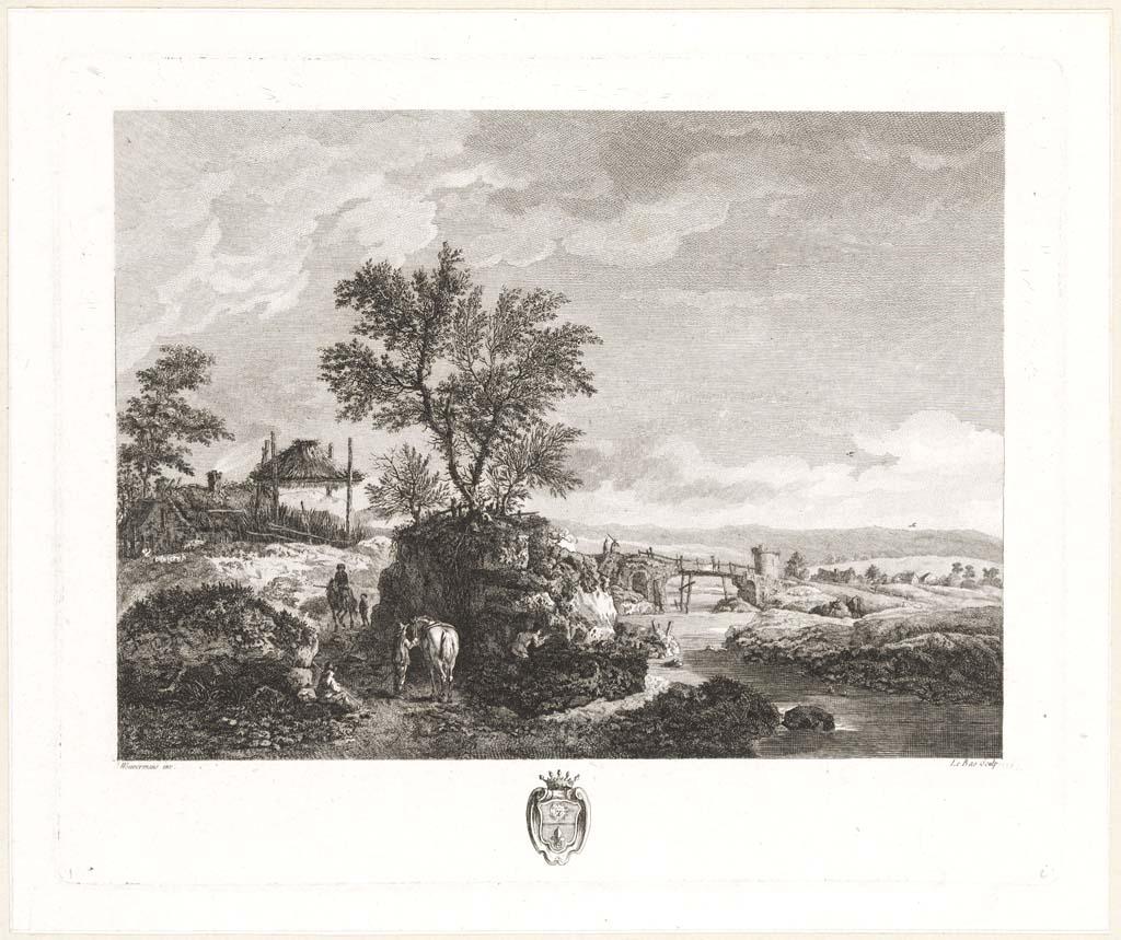 Landschap met twee ruiters. Franse titel: (Paysage avec cinq figures) (dont deux cavaliers)