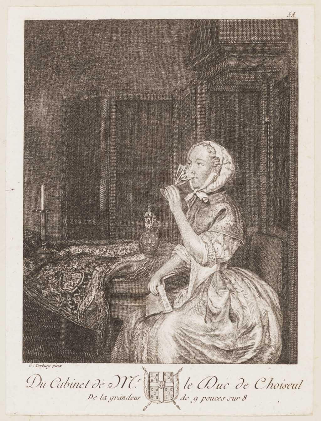 Drinkende vrouw met een brief