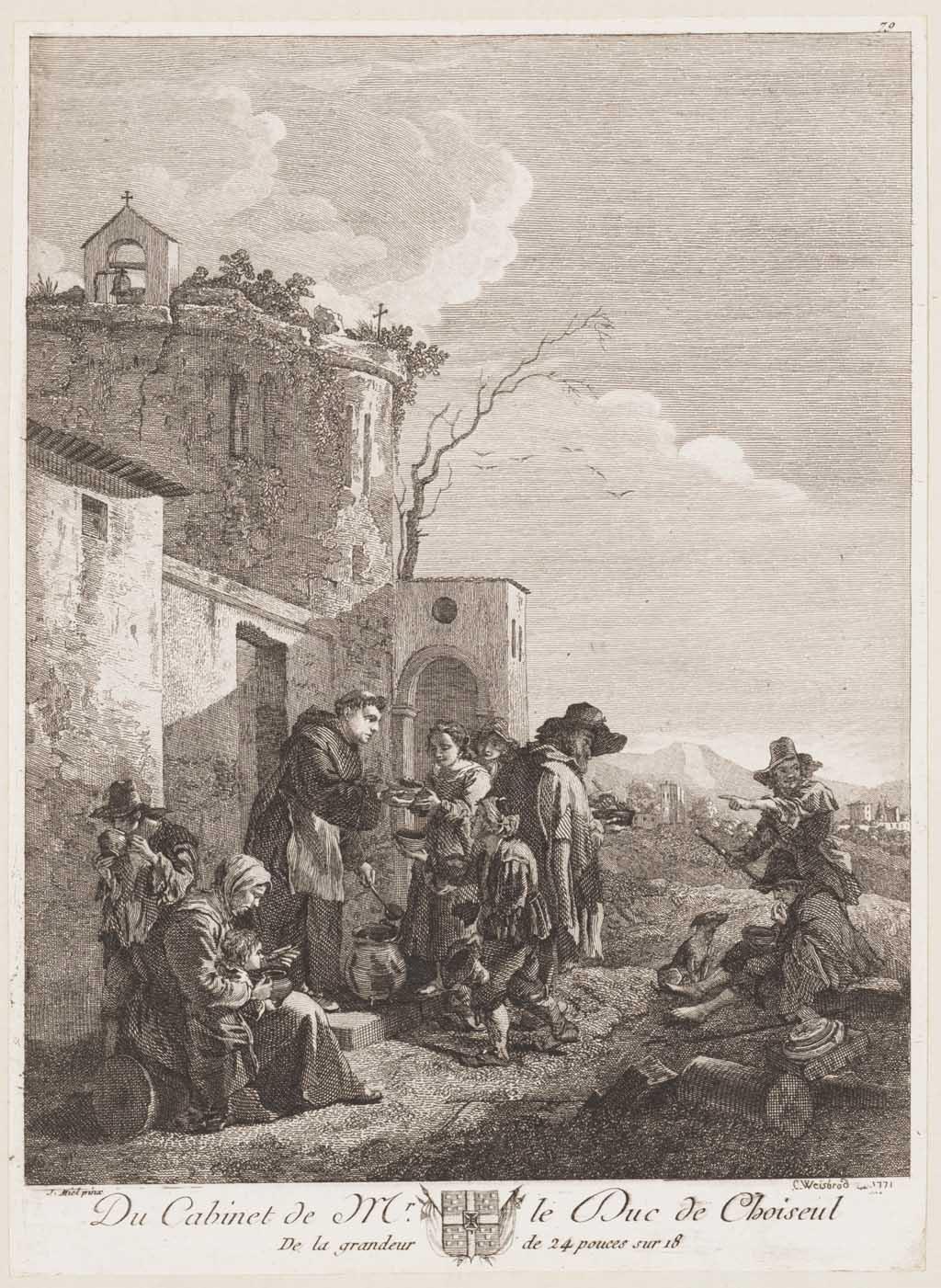 Een monnik, de armen verzorgend