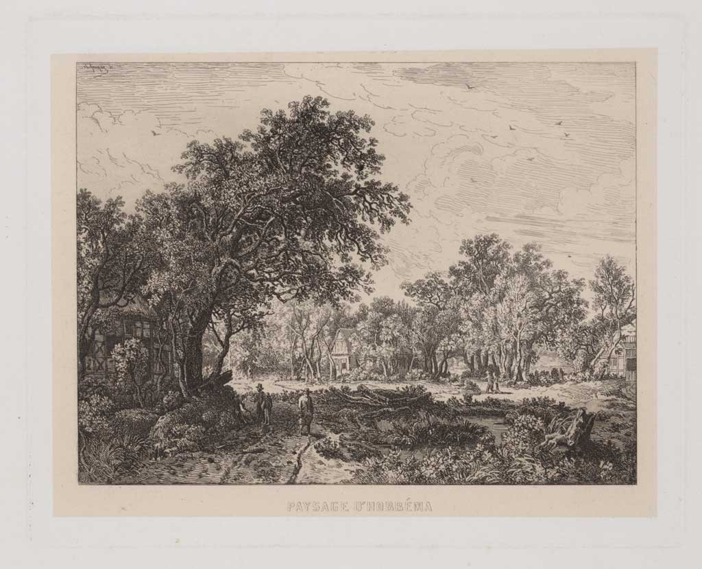 Landschap naar Hobbema: fr. titel: Paysage d'Hobbéma