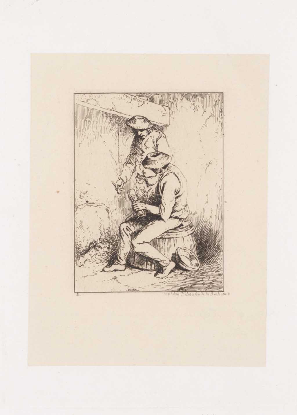 Twee mannen bij haardvuur