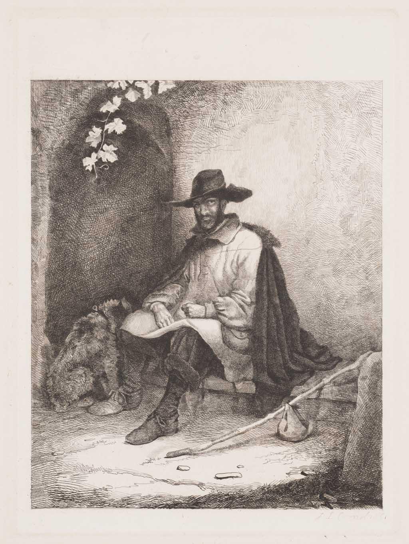 Mansportret, zittende man met hond