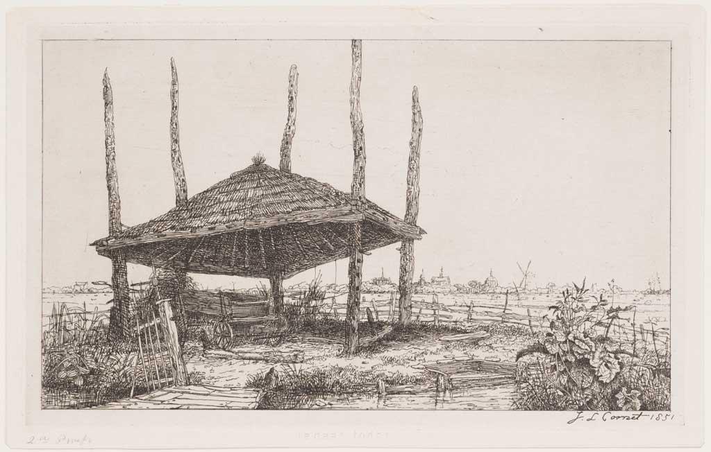 Landschap met hooimijt