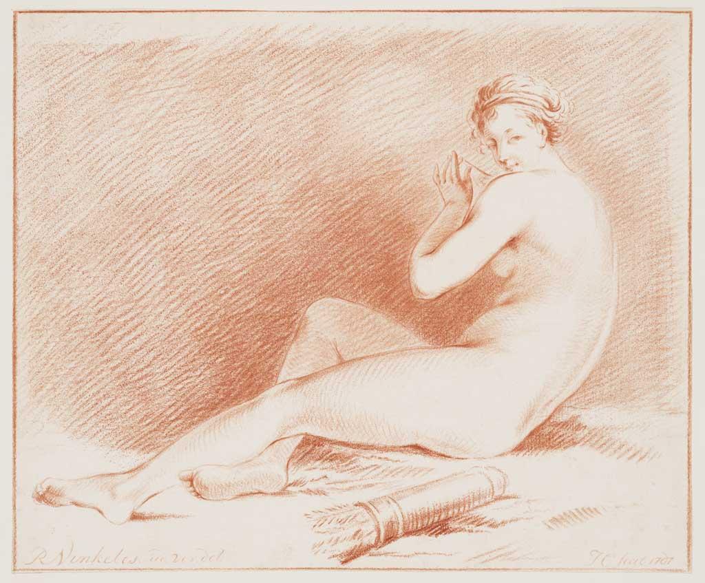 Zittende naakte vrouw opzij gezien, op de voorgrond een koker met pijlen (naar Vinkeles, R.)