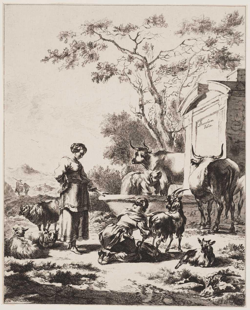 Vrouw die een geit melkt en spreekt met een herderin