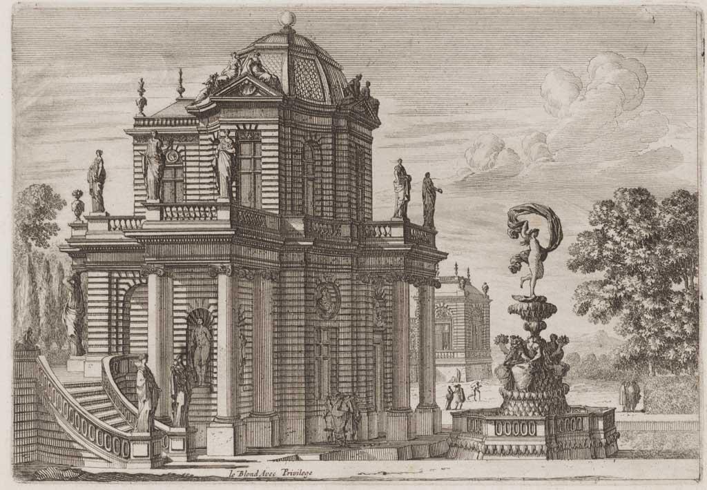 Fontein bekroond met Venus naast een huis met standbeelden