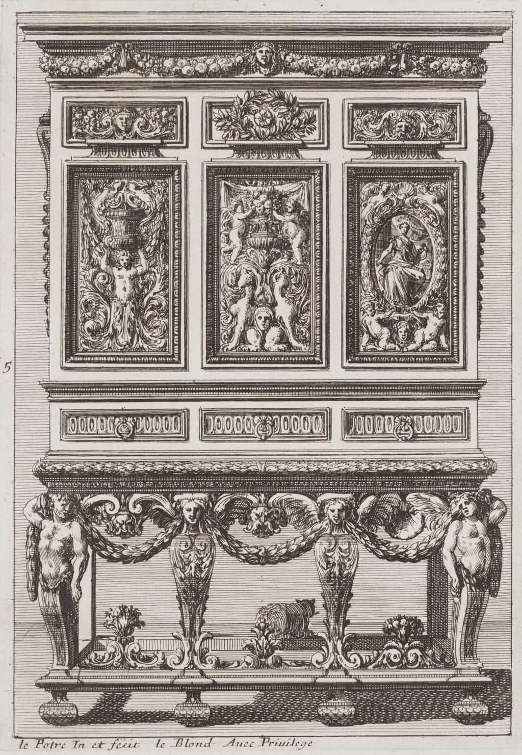 Kabinet met drie verticale panelen