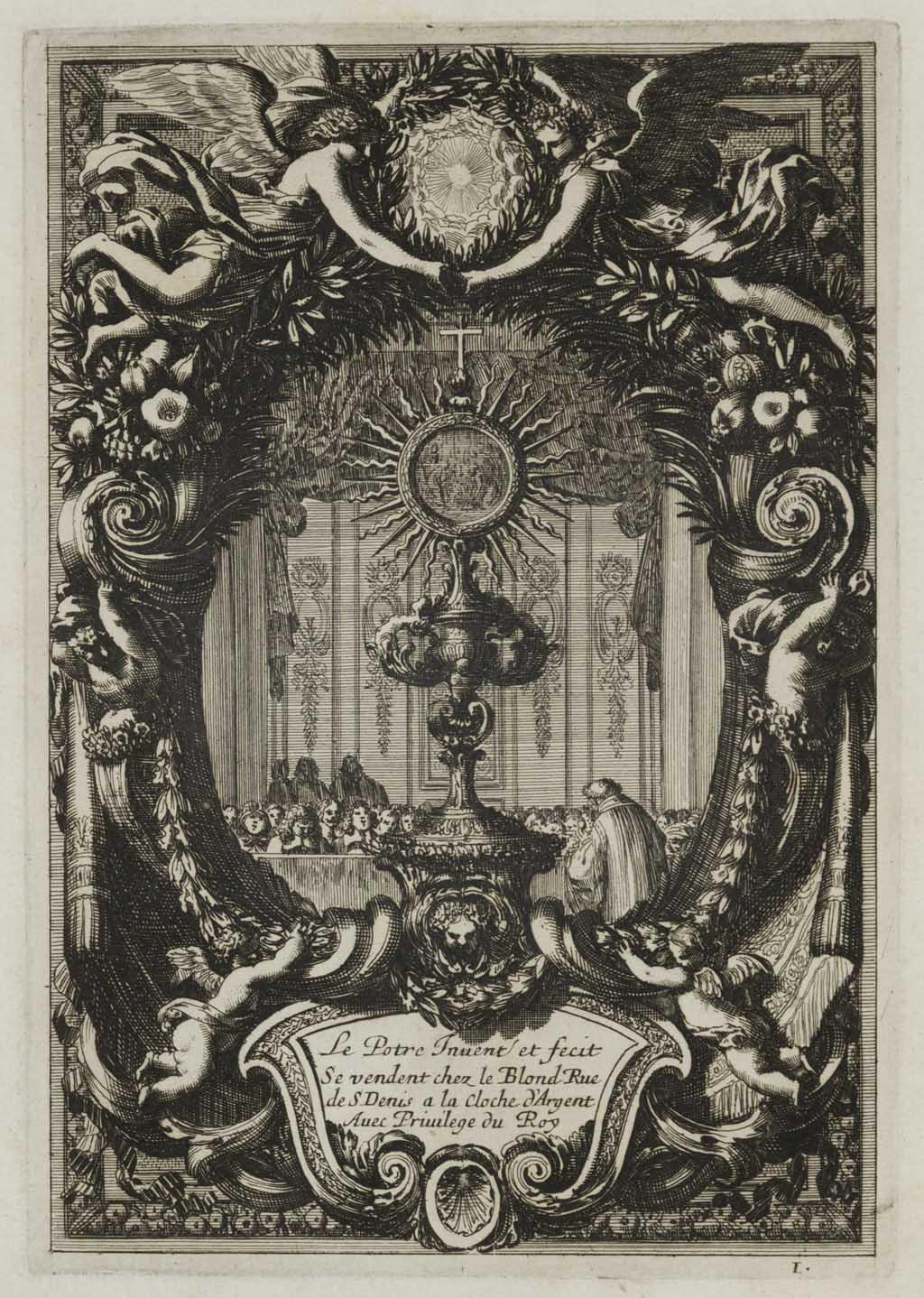 Titelprent met monstrans in rijk gedecoreerde cartouche