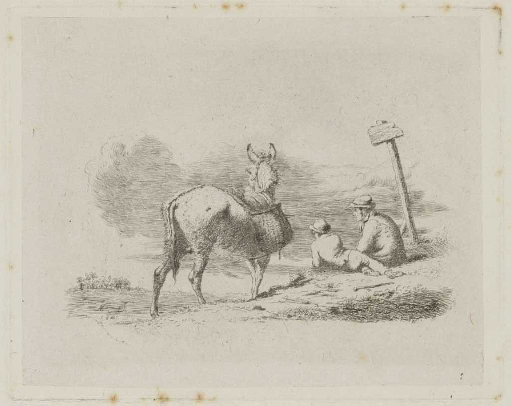 Landschap met een bepakte ezel, een man en een jongen