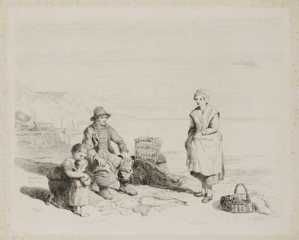 Scène aan de kust met op de voorgrond een visser en zijn gezin rondom de vangst