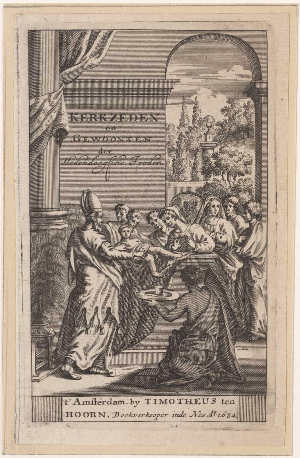 """Titelprent """"Kerkzeden en gewoonten der hedendaagsche jooden"""""""