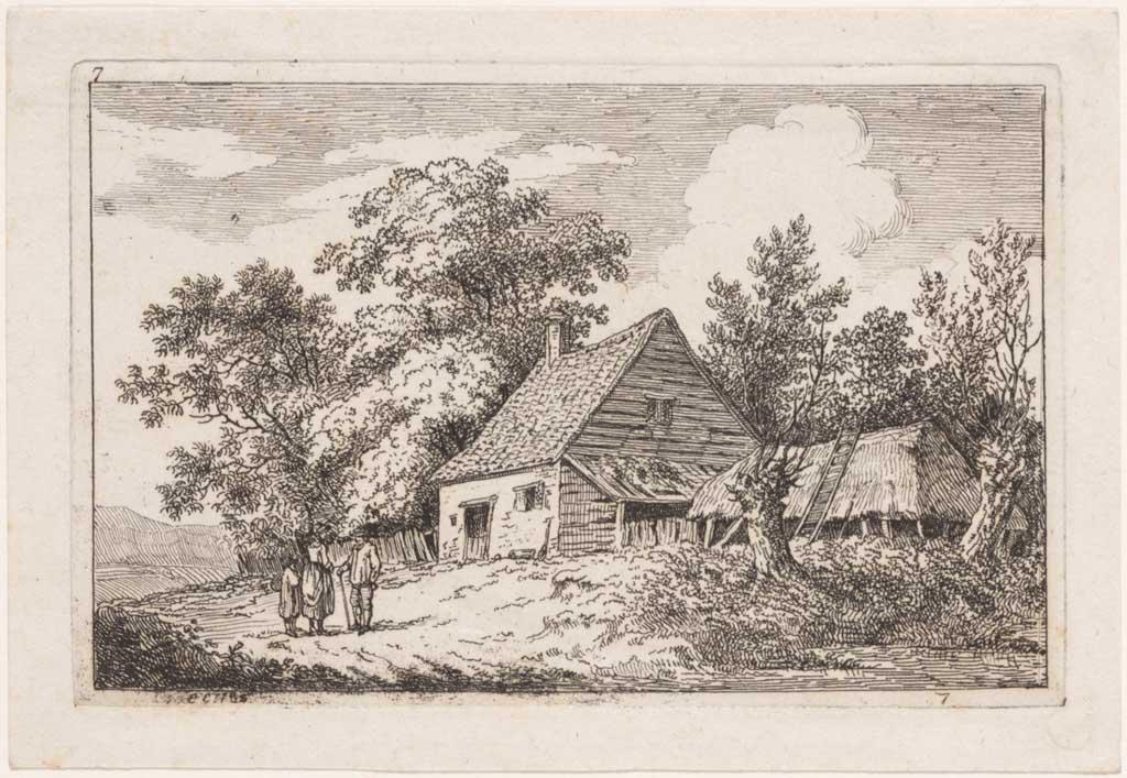 Gezicht op een boerderij met luifel en schuur