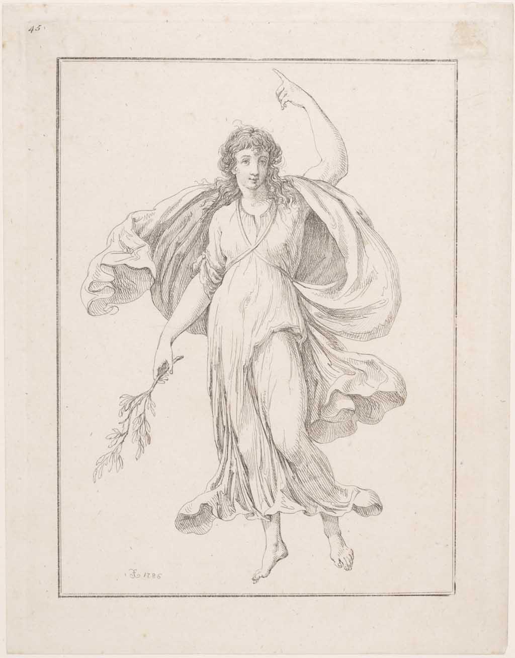 Een allegorisch vrouwenfiguur wijst omhoog