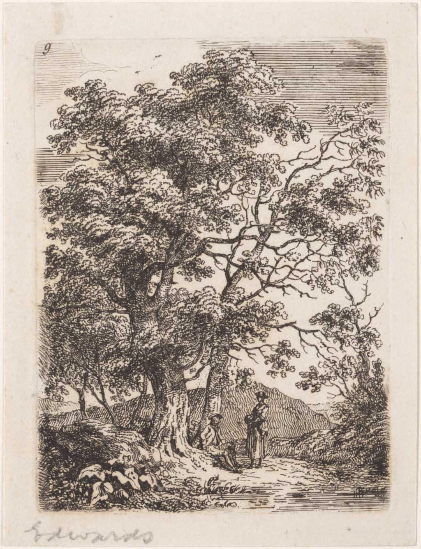 Landschap met man zittend onder twee bomen