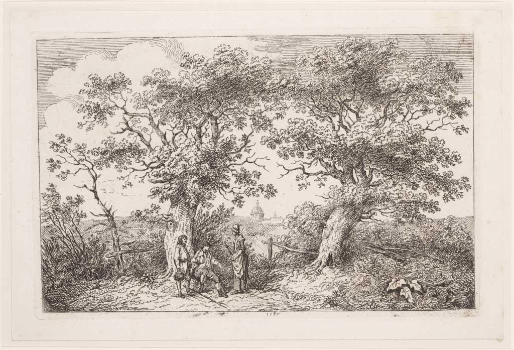 Landschap met twee mannen die uitrusten