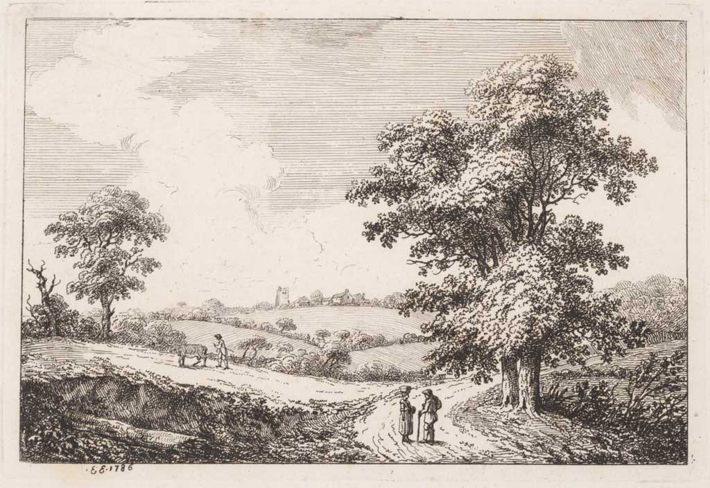 Landschap met vrouw en man in gesprek op een landweg