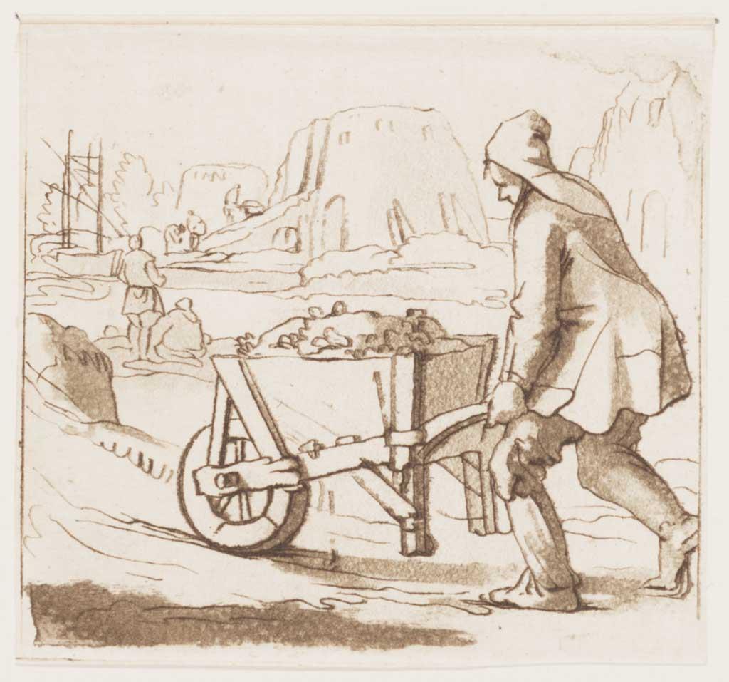 Mijnwerker, die zich met een kruiwagen vol erts begeeft naar een smeltoven op de achtergrond