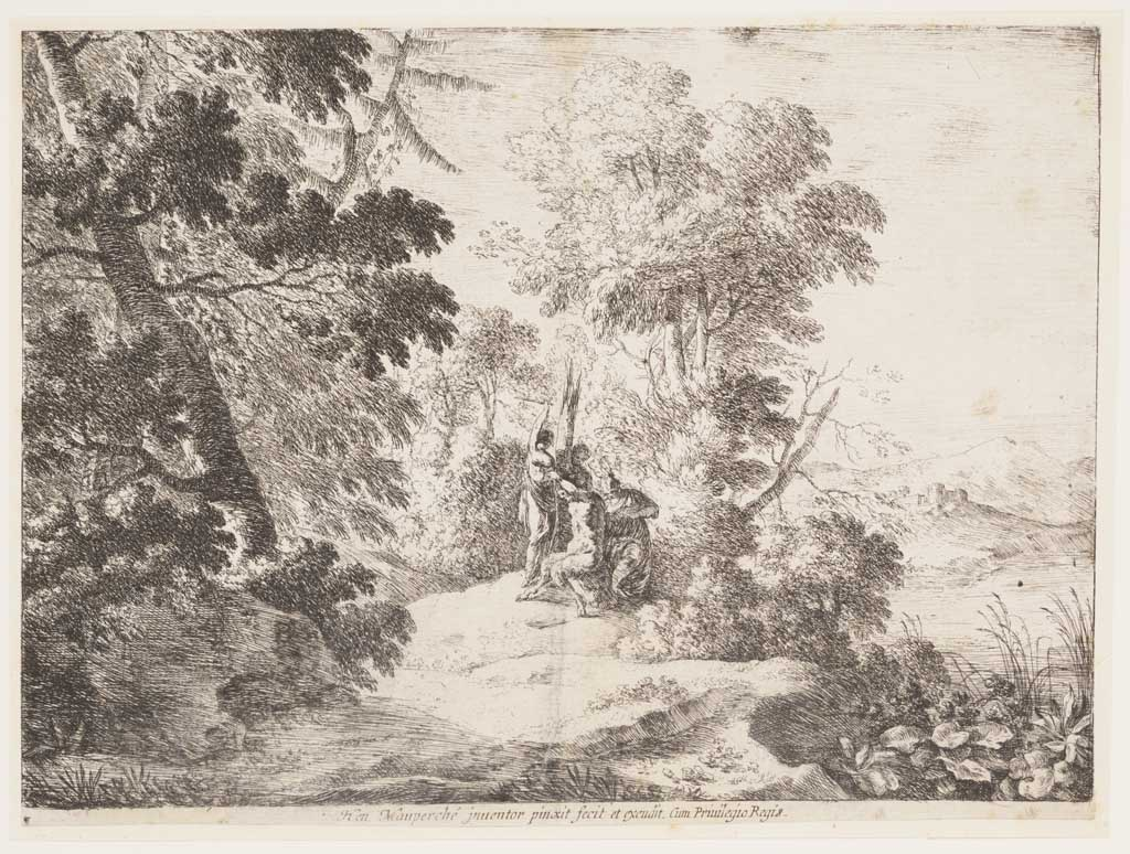Landschap met herdersgod Pan en drie nimfen