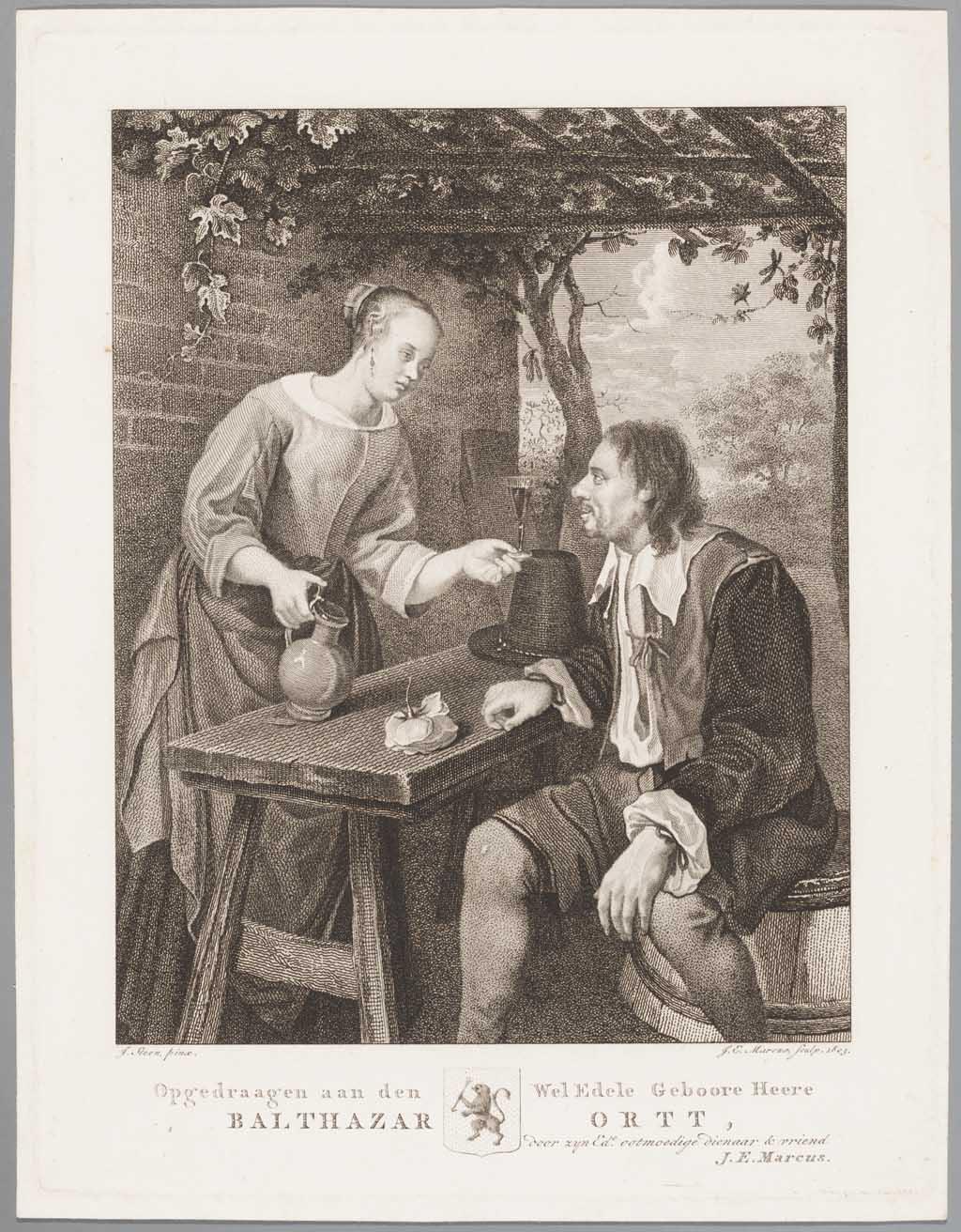 Zittende man aan tafel, die een door een vrouw ingeschonken glas wijn krijgt aangeboden