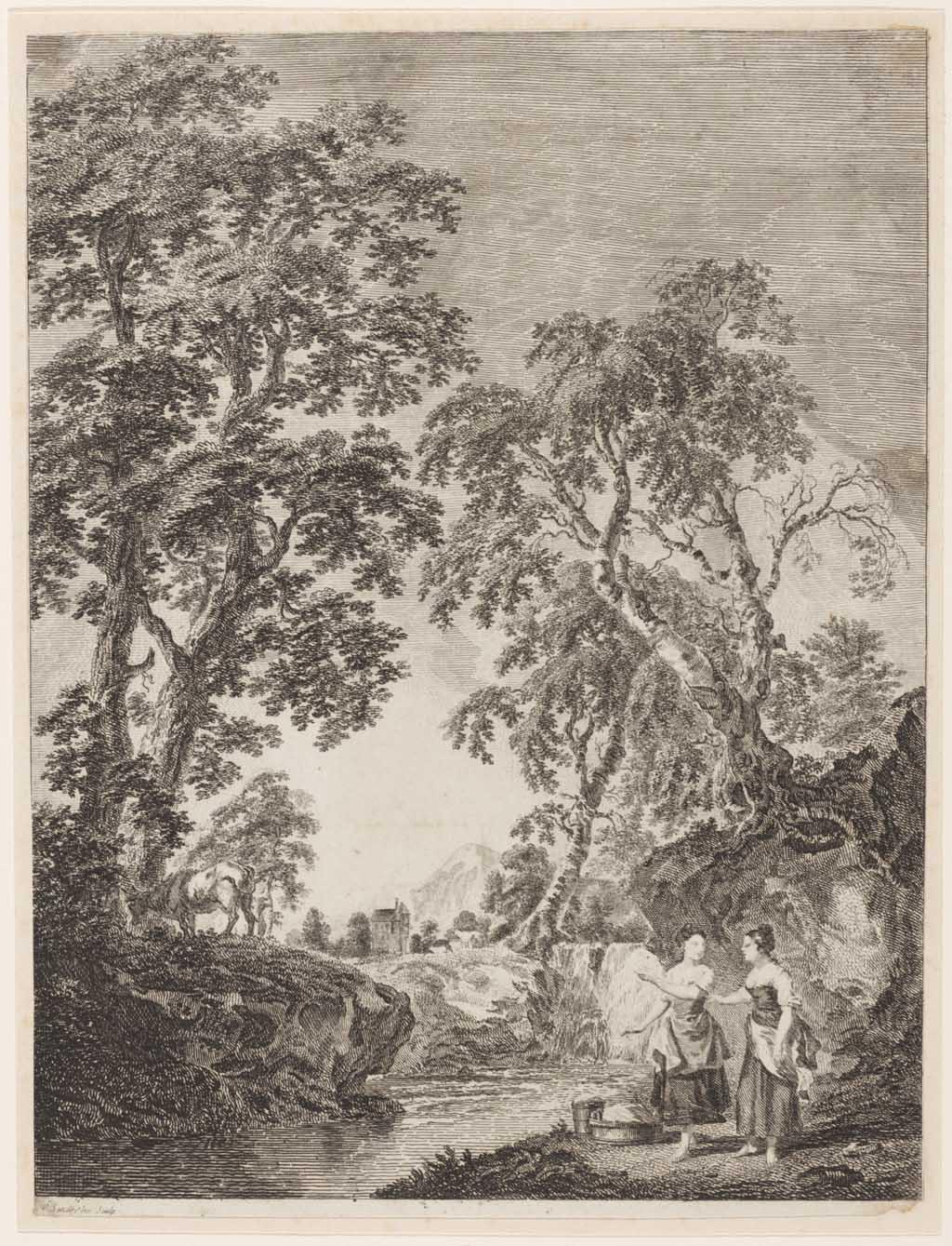 Boomrijk landschap met water. rechts op de voorgrond twee in gesprek zijnde vrouwen bij wasgoed