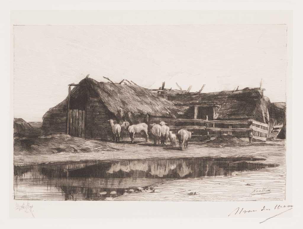 De Distel, etsen van Nederlandsche schilders, editie 1886 (afl. 12: Drentsche schaapskooi)