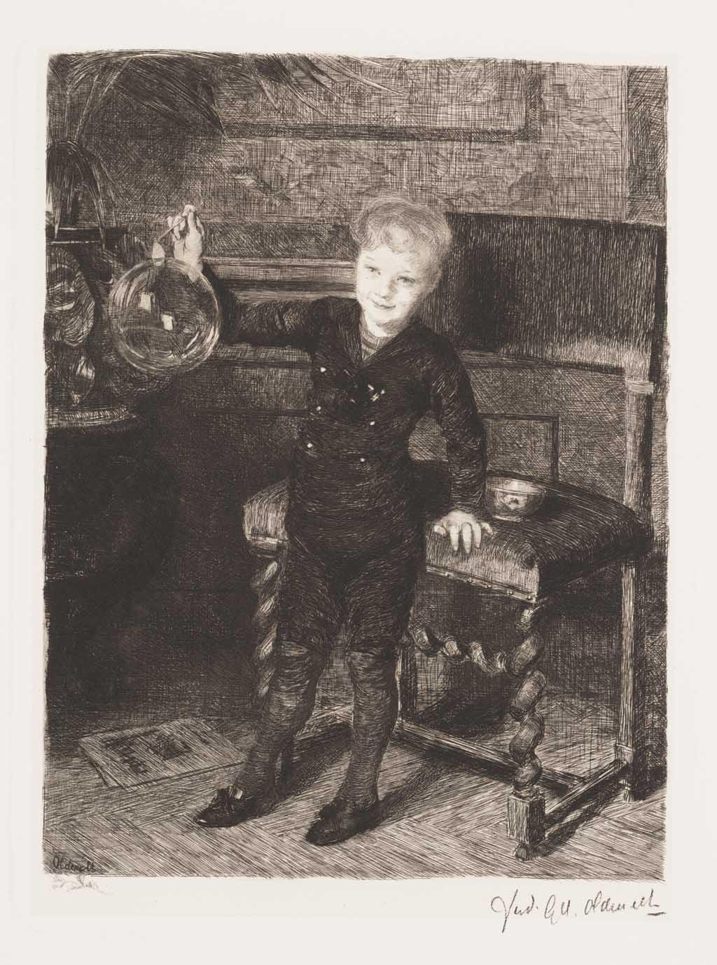 De Distel, etsen van Nederlandsche schilders, editie 1887 (afl. 2: Voldoening)