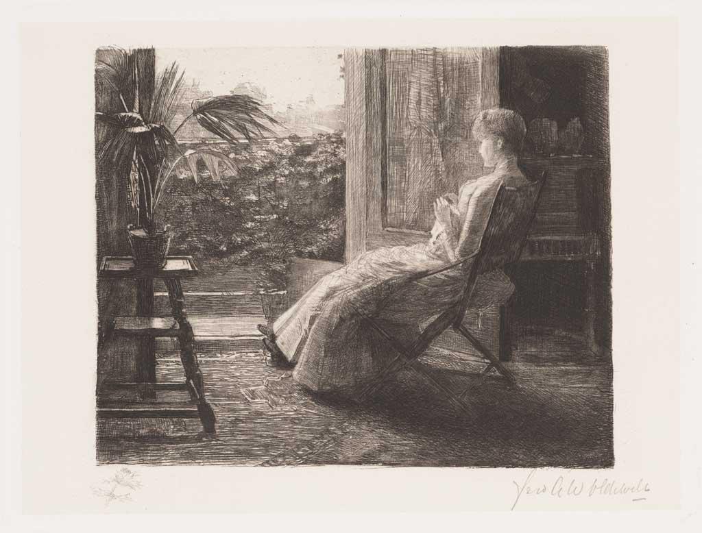 De Distel, etsen van Nederlandsche schilders, editie 1887 (afl. 5: Aan het open venster)
